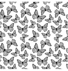 a lot of black detailed butterflies icon seamless vector image