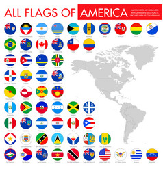 Alphabetically sorted circle flags america set vector