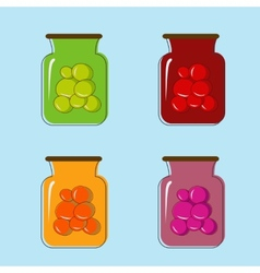 Bank with home canned fruit juice design vector image