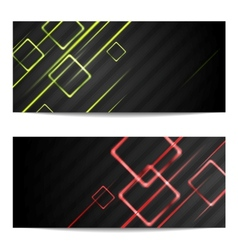 Banners with shiny stripes and squares vector