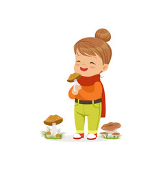 Beautiful little girl in warm clothing collecting vector