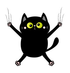 black cat nail claw scratch screaming kitten vector image