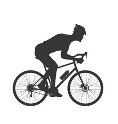 Black silhouette cyclist outdoor fitness vector
