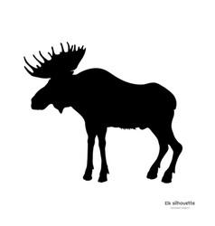 black silhouette of elk isolated image of deer vector image