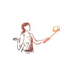blogger smartphone selfie woman concept vector image