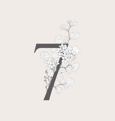 blooming floral number 7 monogram and logo vector image