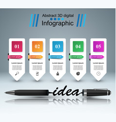 Business infographics pen idea icon vector