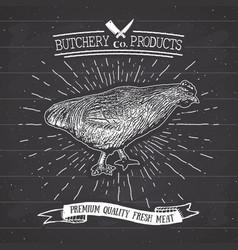 Butcher shop vintage emblem chicken meat products vector