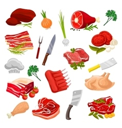 Butchery meat butcher shop products icons vector