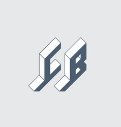 C and b - monogram or logotype isometric 3d font vector