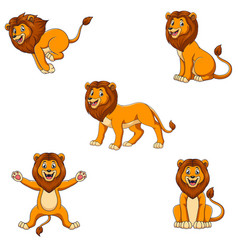 cartoon lion set with different pose vector image