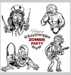 Cartoon zombie set isolated on white vector