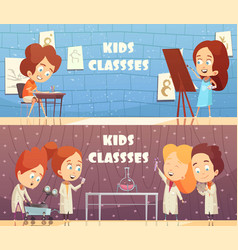 children classes horizontal banners vector image