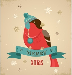 Christmas background with hipster bullfinch vector image vector image