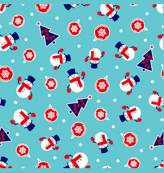 christmas background with snowmen trees and red vector image