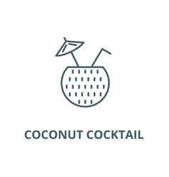 coconut cocktail line icon coconut vector image