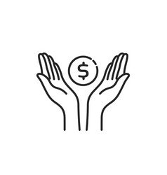 contour black hands with dollar coin vector image