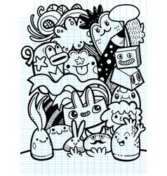 Cute cartoon monstershipster hand drawn crazy vector