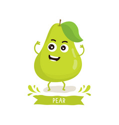 cute pear character vector image