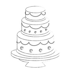 Cute wedding cake vector