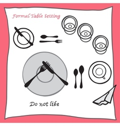 Do not like Dining table setting proper vector image