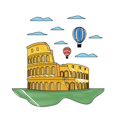 Doodle coliseum rome and funny air balloons vector