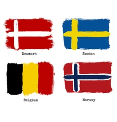 European grunge flags Flags of Denmark Sweden vector