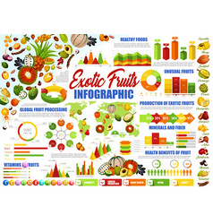 Exotic tropical fruits healthy food infographic vector
