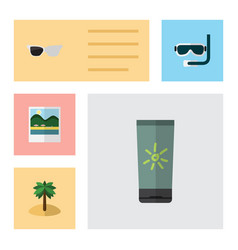 Flat beach set of moisturizer reminders vector