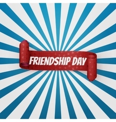 Friendship day realistic red curved banner vector