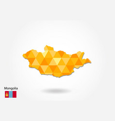 geometric polygonal style map of mongolia low vector image