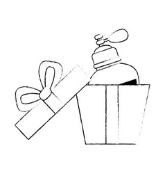 Giftbox with women perfume bottle icon vector