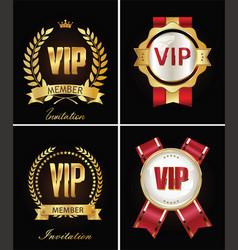 Golden vip invitation retro template on black vector