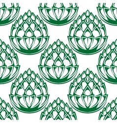 Green hop blooms seamless pattern vector image