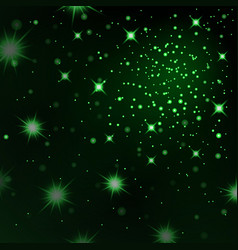 Green light stars on black background abstract vector