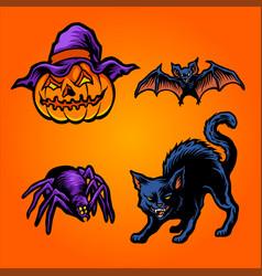 halloween pumpkins set element cat bat vector image