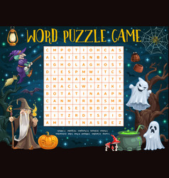 halloween word puzzle worksheet cartoon witches vector image