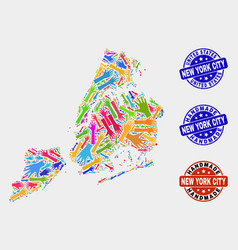 Hand collage new york city map and grunge vector