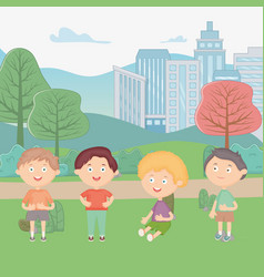 happy boys in city park scene vector image