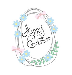 happy easter greeting card with flowers and eggs vector image