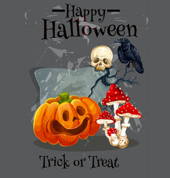 Happy halloween trick treat greeting card vector