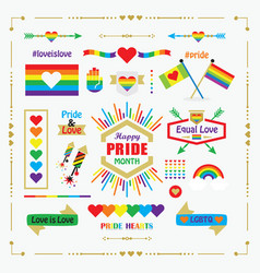 happy pride month rainbow flags icons emblems set vector image