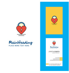 heart lock creative logo and business card vector image