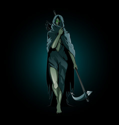 Hel goddess underworld in norse mythology vector