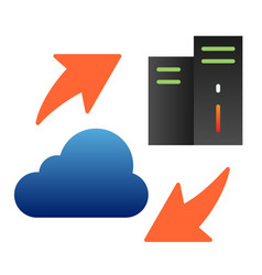 Information sharing flat icon server and cloud vector