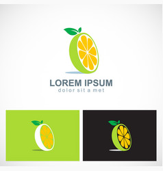lemon fruit vitamin logo vector image