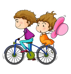Lovers riding a bike vector image