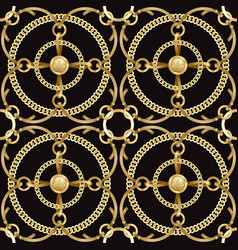 luxury golden chains and ribbons seamless pattern vector image