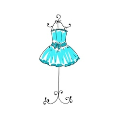 Magnificent blue dress on a hanger vector