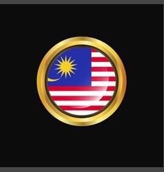 Malaysia flag golden button vector